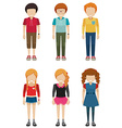 Three faceless boys and three faceless girls vector