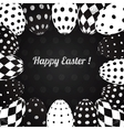 Black and white background of easter eggs vector