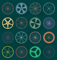 Retro style bike wheel silhouettes vector