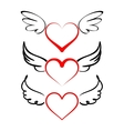 Heart with wings collection cartoon vector