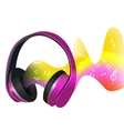 Headphones and soundwaves vector