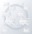 Steam locomotives and circle of railroad vector