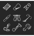 Flat line icons for rock climbing vector