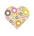 Donuts in heart vector