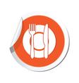 Restaurant icon orange sticker vector