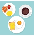Breakfast food and drinks in flat style vector