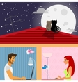 Man and woman in social networking vector