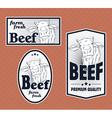 Beef vintage labels set vector