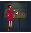 Woman looking at night town romantic view vector