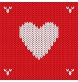 Christmas knitted background with heart vector