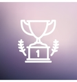 Trophy for first place winner thin line icon vector