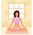 Young woman yoga in gym - vector