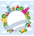 Fantastic flying town and circle banner vector