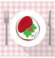 Beef steak with calad and tomato on white plate vector