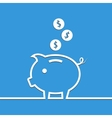 Money piggy bank in line on blue background vector