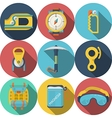 Flat colored icons for rock climbing vector