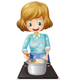 A happy mother cooking vector