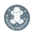 Round chistmas greeting with cookie grey vector