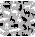 Black and white digital retro animals pattern vector