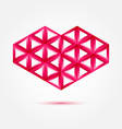 Red heart shape made by triangles - love symbol vector