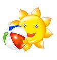 Sun with beach ball vector