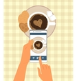 Human is photographing his cup of coffee in vector