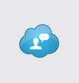 Blue cloud conversation icon vector