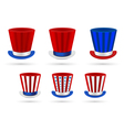 Six independence day hats set in different color vector