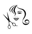 Woman and scissors design for hair salon vector