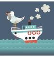 Seagull looking through binoculars on the vessel vector