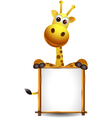 Funny giraffe cartoon with blank sign vector