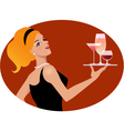 Waitress with drinks vector