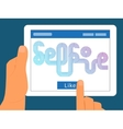 Graphic selfie on tablet pc for social networking vector