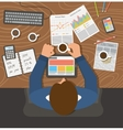 Businessman working top view office workplace vector