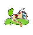 Big cartoon house icon vector