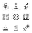 Black icons for bacteriology vector