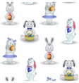 Background rabbits with easter egg vector