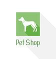 Flat pet shop logo with dog vector