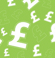 Pound money icon on green background vector