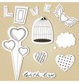 Hand-drawn scrap valentines day design elements vector