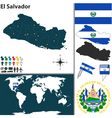 El salvador map world vector