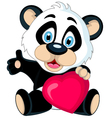 Panda cartoon holding love heart vector