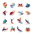 Origami business emblem templates vector