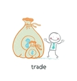 Trade standing near money vector