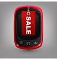 Red phone with labal sale vector
