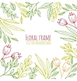 Floral frame with hand drawn flowers and plants vector