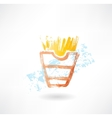 French fries grunge icon vector