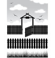 Black fence with gate vector
