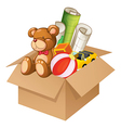 Toys in a box vector
