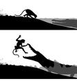 Crocodile and monkey vector